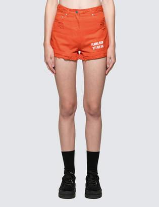 MSGM Devore' Solid Color Bull Denim Shorts