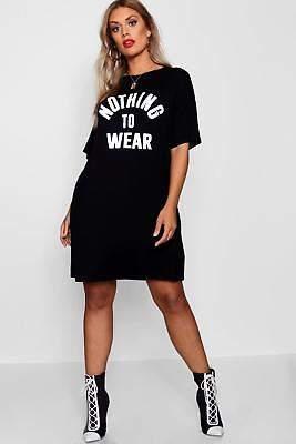 boohoo NEW Womens Plus Nothing To Wear T Shirt Dress in Viscose 5% Elastane