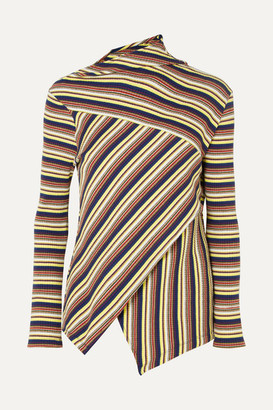 Marques Almeida Marques' Almeida + 7 For All Mankind Asymmetric Striped Ribbed Cotton-jersey Top