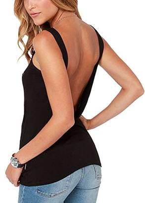 6b79118b2aa223 Bestisun Women s Summer Beach Vest Cute Backless Workout Tank Top Casual  Blouse T Shirts S