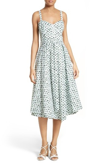 Women's Milly Bambino Palm Print Midi Dress