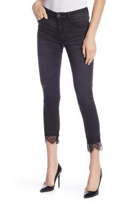 Democracy Washed Black Lace Hem Skinny Jeans