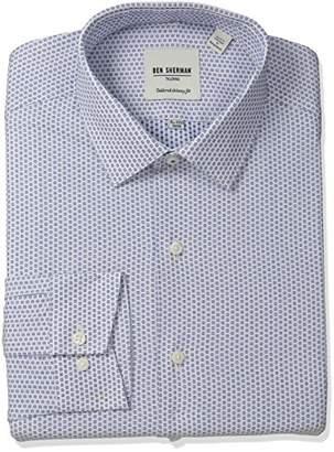 Ben Sherman Men's Skinny Fit Floral Dobby Spread Collar Dress Shirt