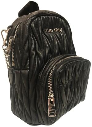 Miu Miu Matelasse Black Leather Backpacks