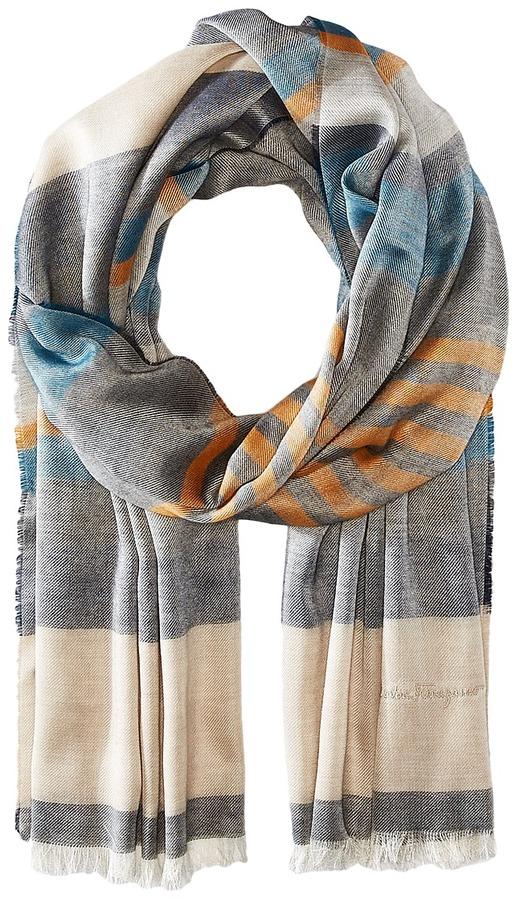 Salvatore FerragamoSalvatore Ferragamo - Multi Color Stripe Cotton/Cashmere Scarf Scarves