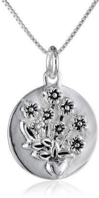 "Sterling ""Sisters Are Different Flowers From The Same Garden"" Reversible Flower Necklace"