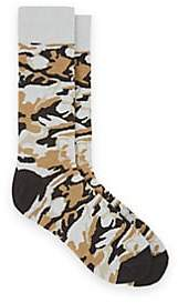 Barneys New York MEN'S CAMOUFLAGE COTTON-BLEND MID-CALF SOCKS-BEIGE, TAN