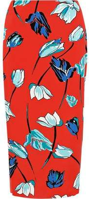 Diane von Furstenberg Floral-print Stretch-poplin Pencil Skirt