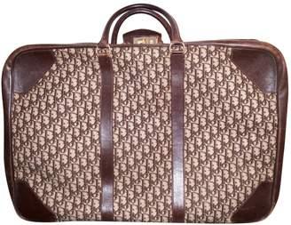 Christian Dior Vintage Brown Leather Travel Bag