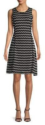 Karl Lagerfeld Paris Chevron Fit-&-Flare Dress
