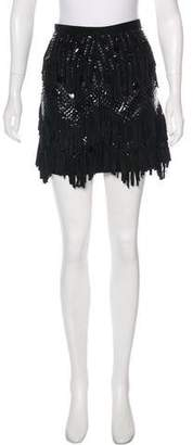 Barbara Bui Suede Embroidered Skirt