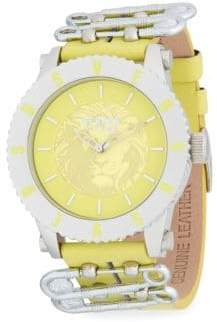 Versace Graphic Stainless Steel Leather-Strap Watch