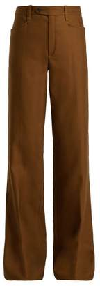 Chloé Tuxedo High Rise Wool Blend Trousers - Womens - Brown