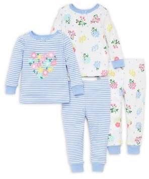 Little Me Baby Girl's Four-Piece Floral Pajama Set