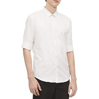 Calvin Klein Men's Long Sleeve Twill Roll-up Button Down Shirt