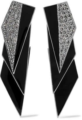Saint Laurent Smoking Silver-tone, Enamel And Crystal Clip Earrings