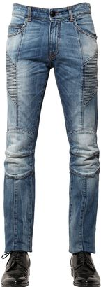 15.5cm Washed Stretch Denim Biker Jeans $585 thestylecure.com