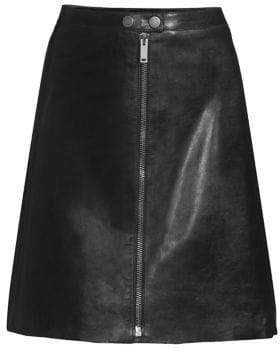Max Mara Women's Aerosi Leather Skirt - Black - Size 10
