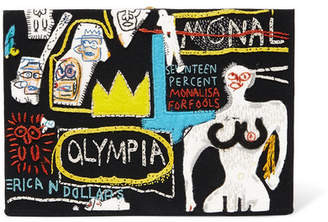 Olympia Le-Tan Basquiat Embroidered Cotton And Wool-blend Clutch - Black