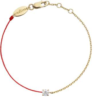 Redline Diamond Solitaire Double Chain and Red String Bracelet