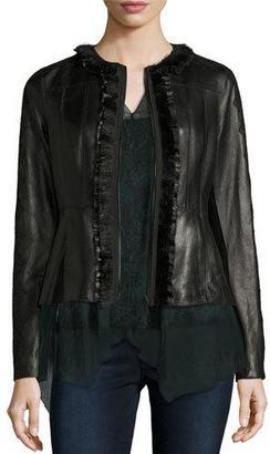 Elie Tahari Cam Crochet-Trim Leather Peplum Jacket, Black $1,298 thestylecure.com