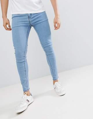 Bershka Super Skinny Jeans In Lightwash Blue