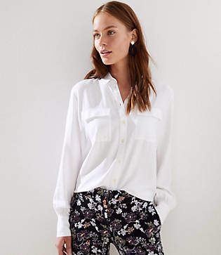 LOFT Double Pocket Utility Blouse
