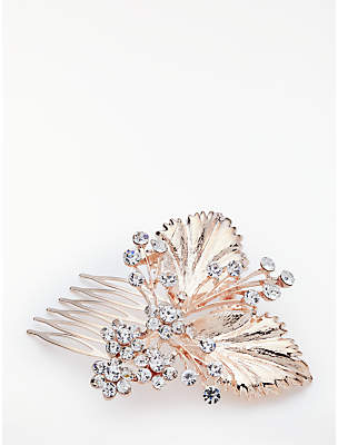 John Lewis Cubic Zirconia Floral Bridal Hair Comb, Rose Gold