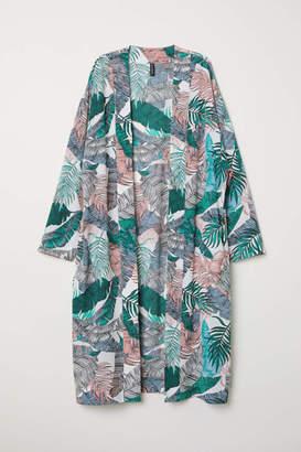H&M Patterned Kimono - White/leaf-patterned - Women