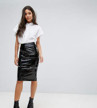 Missguided Vinyl Zip Detail Midi Pencil Skirt