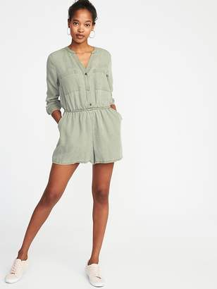 Old Navy Waist-Defined Tencel® Utility Romper for Women