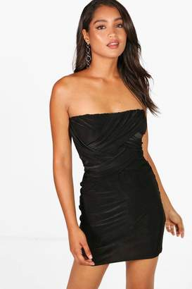 boohoo Kady Slinky Bandeau Draped Bodycon Dress