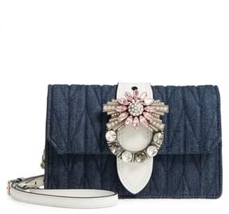 Miu Miu Matelasse Denim Embellished Shoulder Bag