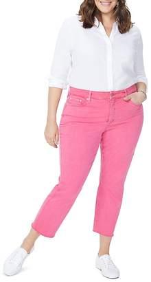 NYDJ Plus Sheri Slim Frayed Ankle Jeans in Begonia