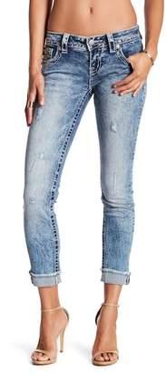 Miss Me Geo Embellished Acid Wash Cuffed Skinny Jeans