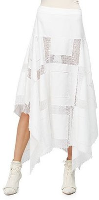 Derek Lam A-Line Lace-Inset Handkerchief Skirt, White $3,495 thestylecure.com