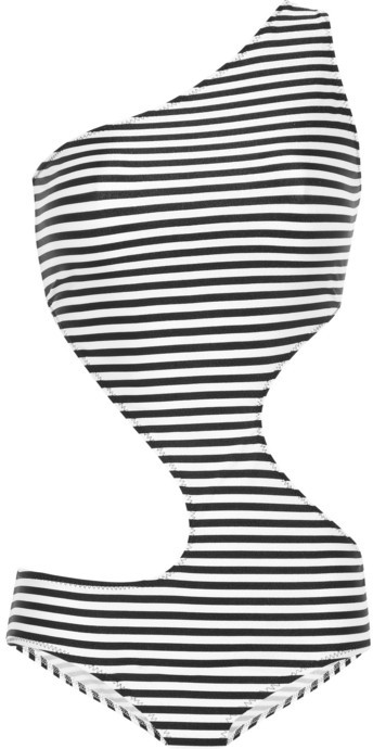 Norma Kamali Zig Zag striped cutout swimsuit