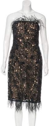 Oscar de la Renta Silk Lace Feather-Trimmed Strapless Dress