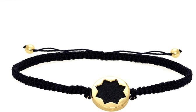 House Of Harlow Black Sunburst Macrame Bracelet