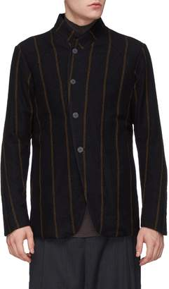 DEVOA Stripe brushed virgin wool twill shirt jacket