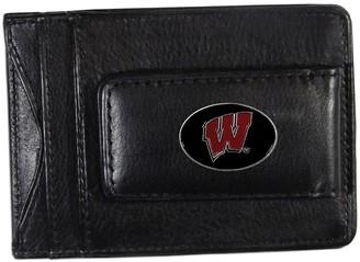 NCAA Kohl's Wisconsin Badgers Black Leather Cash & Card Holder