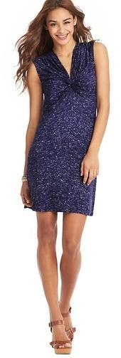 LOFT Tall Galaxy Dot Print Ruched Cap Sleeve Dress