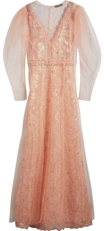 Floral-embroidered Puff-sleeve Dress