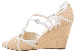 Prada Woven Wedge Sandals