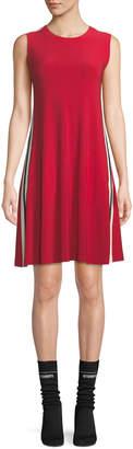 Norma Kamali Side-Stripe Crewneck Jersey Swing Dress