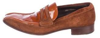 Prada Suede Square-Toe Loafers