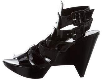 Robert Clergerie Patent Leather Structured Sandals