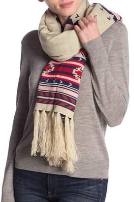 Woolrich Printed Fringe Knit Scarf