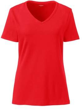 Lands' End Women's Short Sleeve Shaped 1x1 Rib V-Neck T-Shirt