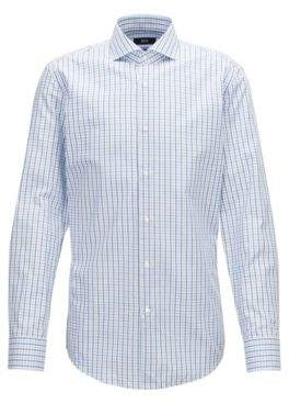 BOSS Hugo Slim-fit shirt in three-colored gingham check pattern 15.5 Open Blue